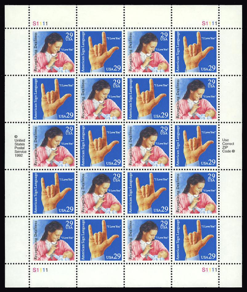 1993 29c Deaf Communication, Sheet of 20 Scott 2783-84