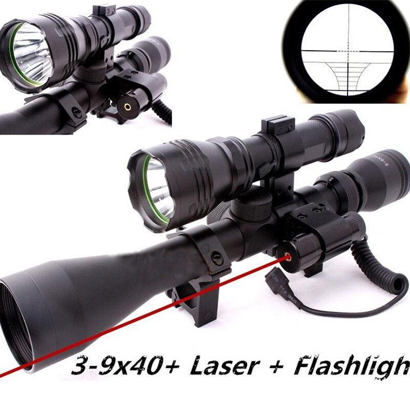 Óptica de  caza armas Mira Telescópica 3-9X40 QQ01 Alcance Montaje Rojo mira láser  descuento de ventas
