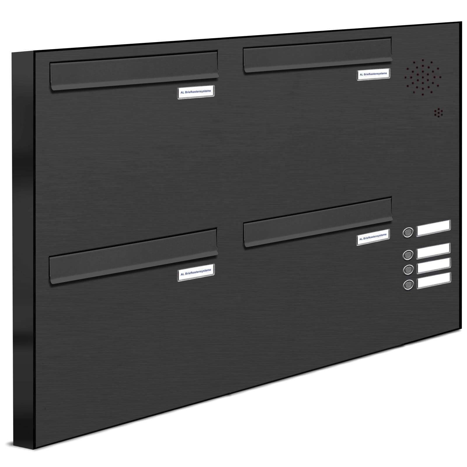 4 er Premium Zaundurchwurf Briefkasten Klingel A4 Postkasten anthrazit 2x2