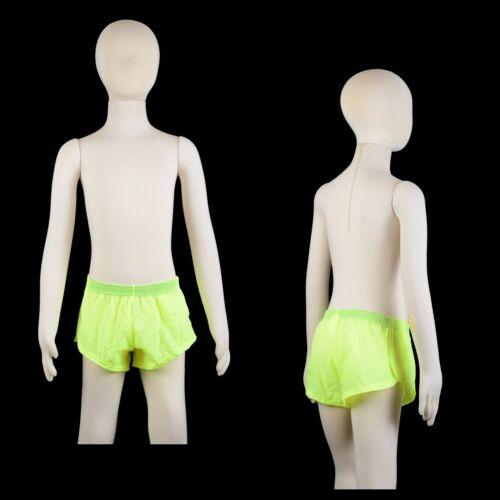 Boys Fluro Yellow Track Shorts Aussie Made Athletics Gym Running Sprinter Tri