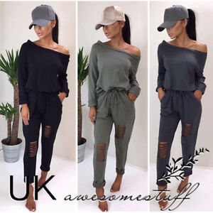 UK-Womens-One-Shoulder-Ripped-Jumpsuit-Ladies-Evening-Party-Playsuit-Size-6-14