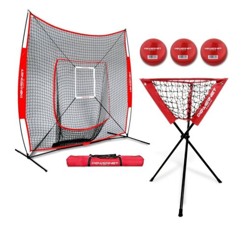 Ball Caddy PowerNet DLX Baseball Softball 7x7 Practice Net Bundle w//Strike Zone