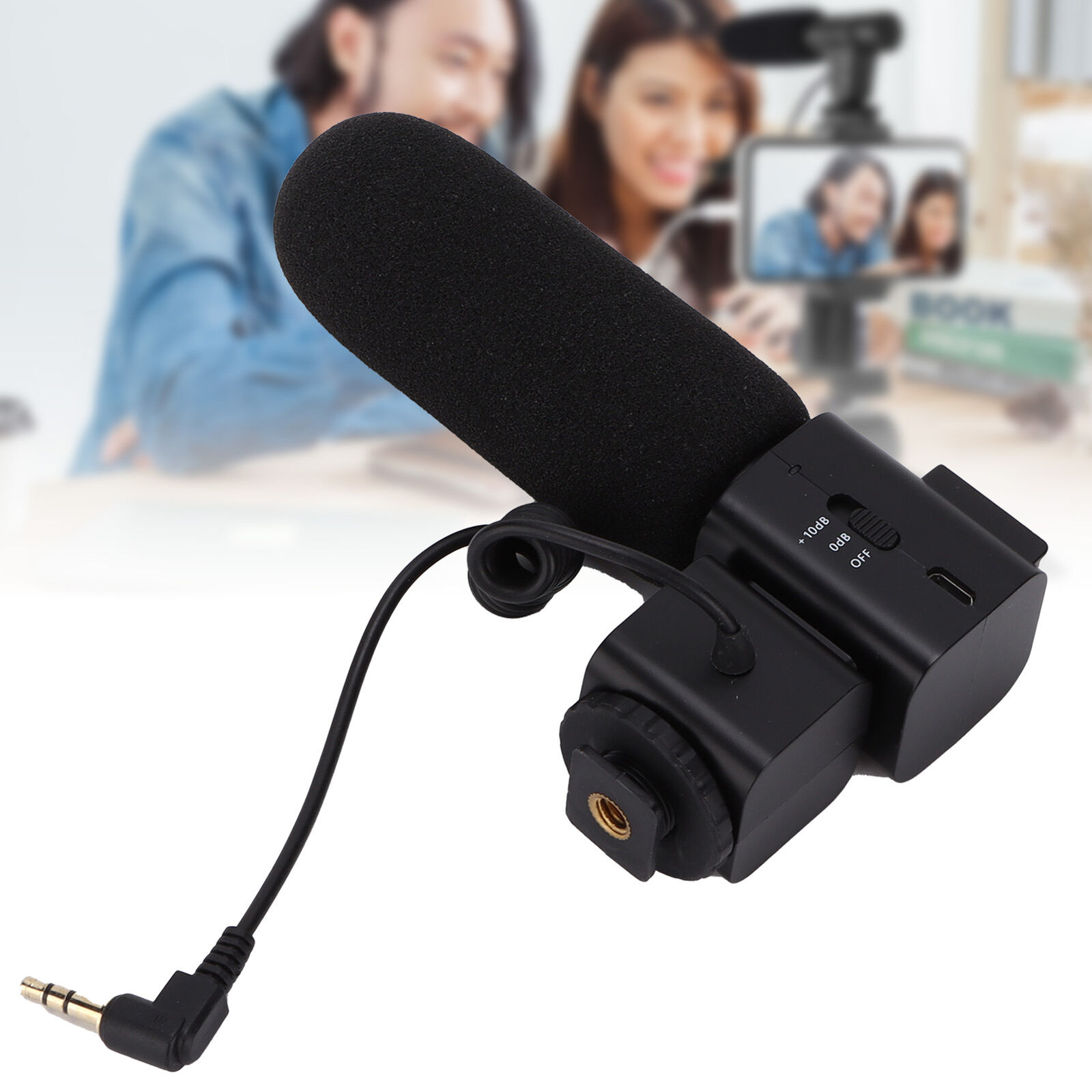 Professional Supercardioid Shotgun Microphone with Cold Shoe Mount for Interview