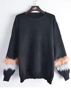 struzzo a jersey lana e Top misto maglia lavorato di in piume in RZanPa