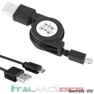 Cavo-Cable-Retrattile-Caricabatterie-Micro-USB-Nero-per-Allview-Asus