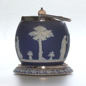 Antique-Wedgwood-Jasper-Ware-Dark-Blue-Biscuit-Barrel-With-Stand