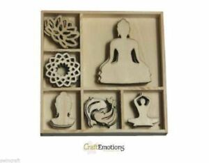 Craft Emotions Box of 40  WOODEN SHAPES Ornaments TREE /& DECORATIONS 0217 SALE