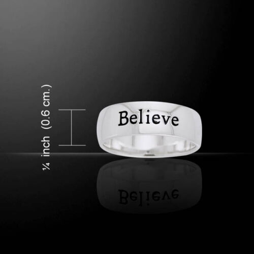 Believe .925 Sterling Silver Ring by Peter Stone Jewelry