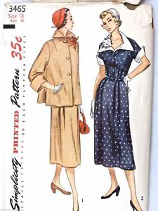 0450620fdc71b Image is loading VTG-1950s-Sewing-Pattern-Simplicity-3465-Maternity-Dress-