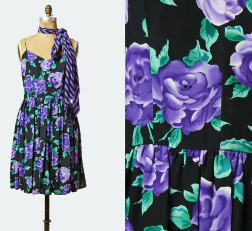 Vintage 80s Floral Balloon Dress Mini Purple Blac… - image 1