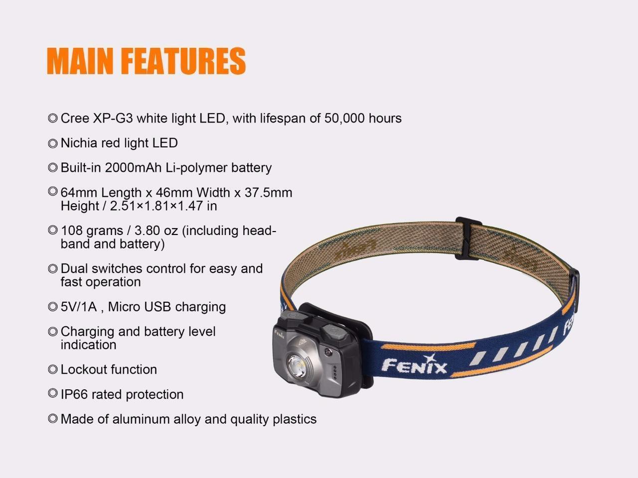 Fenix HL32R HL32R Fenix 600 Lumen  Weiß + ROT LED USB Rechargeable Battery Headlamp (Blau) caecff