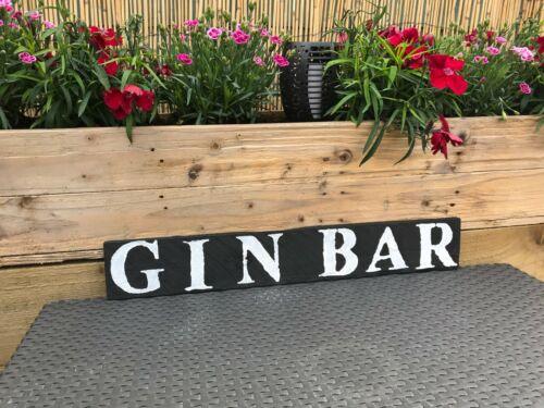 """Vintage en bois rétro /""""Gin Bar/"""" SIGNE Cadeau Fête des Pères Hangar Garage Intérieur Extérieur"""