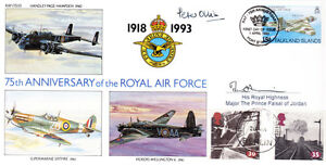 75th Ann RAF Falkland islands cover signed HRH Major The Prince Faisal of Jordan