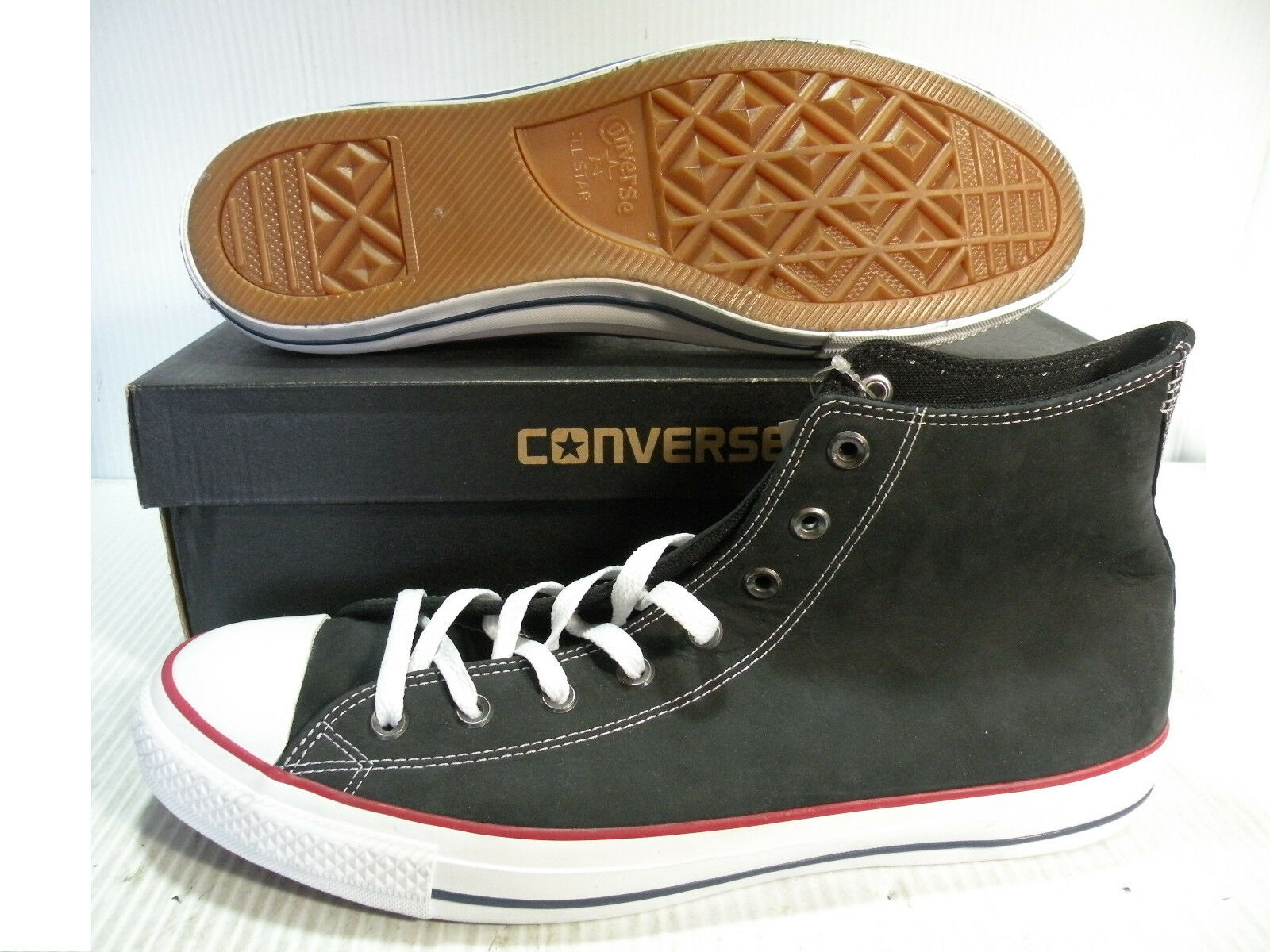 CONVERSE CHUCK TAYLOR AS HI LEATHER hommes Chaussures noir /blanc 150927C SIZE 12 NEW