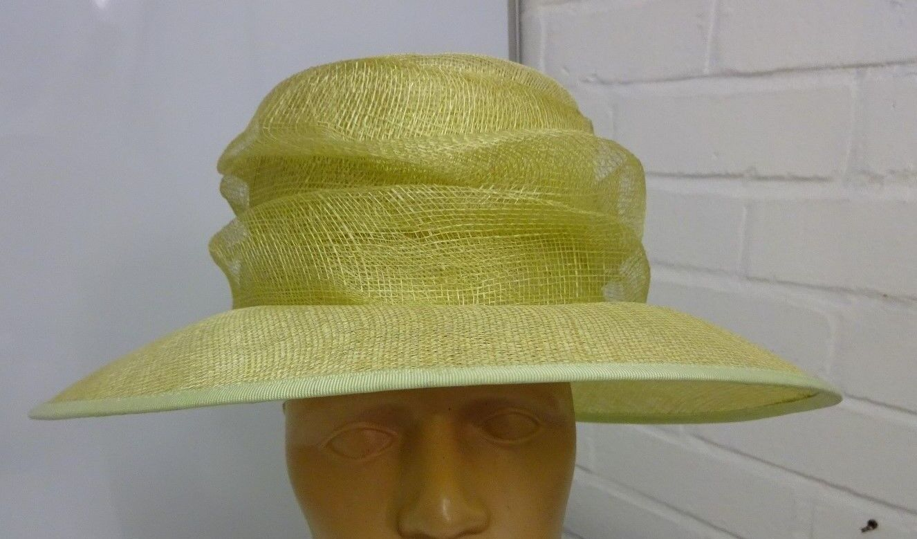 Ex Display Natural with green Trim Formal Hat From Sombrero Collection B7