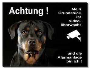 Boxer-Hund-Alarm+Video überwacht-3 Größen-Alu-Schild-Türschild-Warnschild