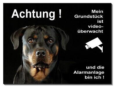 Rottweiler-hund-alu-schild-15x10 Bis 30 X 20 Cm-türschild-alarm-video-warnschild Erfrischung Schilder & Plaketten Haustierbedarf