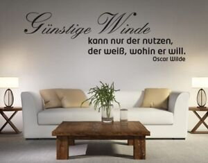 wandtattoo g nstige winde oscar wilde spr che wohnzimmer liebe gl ck bsm002 ebay. Black Bedroom Furniture Sets. Home Design Ideas