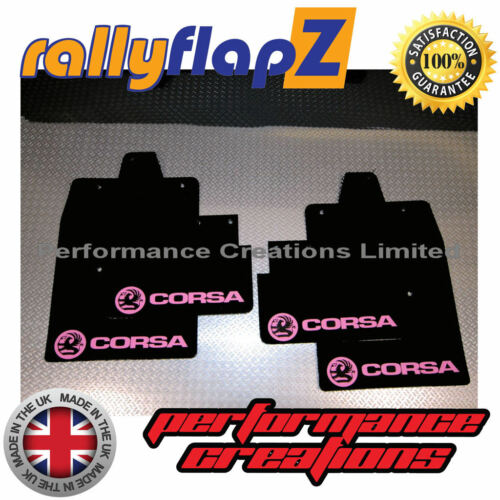 las aletas de barro logotipo en negro Bebé Rosa 4 mm PVC Rally mudflaps Vauxhall Corsa C 00-07