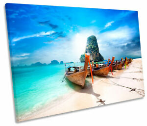 Beach Ocean Boat Paradise Sunset Seascape SINGLE CANVAS WALL ART Picture Print