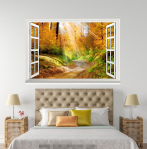 3D Trees Forest Sun 0155 Open Windows WallPaper Murals Wall Print AJ Jenny