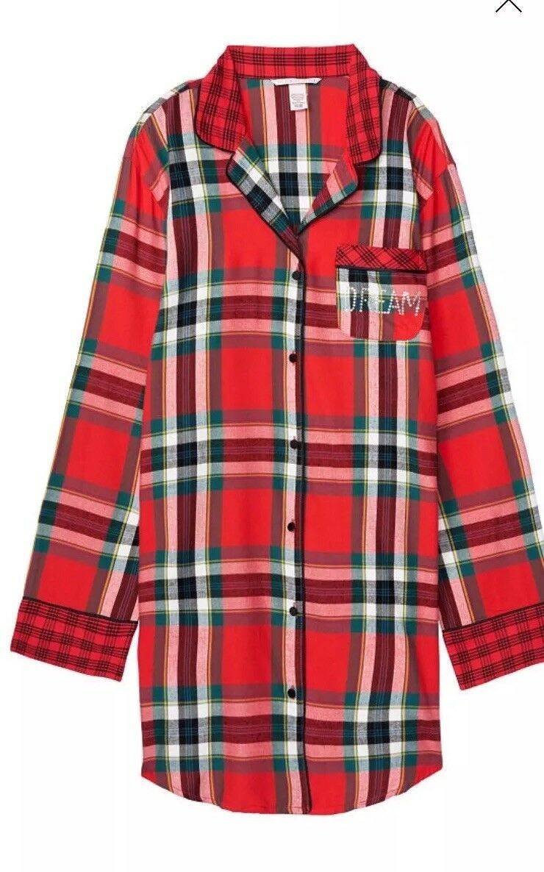 New Victorias Secret Flannel Sleep Shirt Red Plaid  2018 Exclusive - L