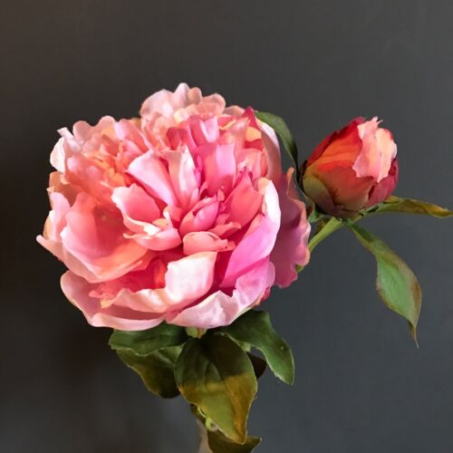 Realistic Artificial Luxury Faux Silk Peony Flowers Large Pink Peonies with Bud