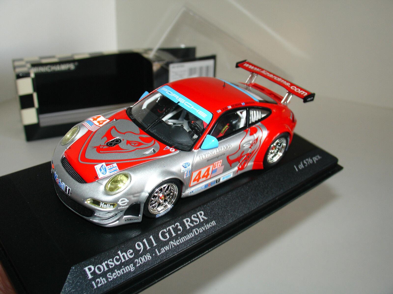 1 43 PORSCHE 911 (997) GT3 RSR h SEBRING 2008 2008 2008 L.E 576pcs by MINICHAMPS 6f6e5d
