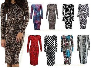 New-Womens-Ladies-Celeb-Long-Sleeve-Animal-Print-Stretchy-Bodycon-Midi-Dress8-14