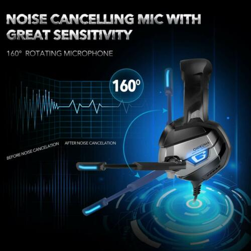 Pro Stereo Gaming Headset 60mm Driver 7.1 Surround Sound Noise Cancelling Mic