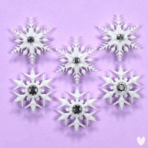 DRESS IT UP Buttons Fancy Snowflakes 9498 Snow Rhinestones Xmas Christmas