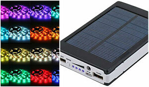 Solar battery powered 5050 rgb led strip light kit waterproof image is loading solar battery powered 5050 rgb led strip light aloadofball Choice Image