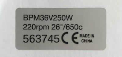 2x Motoraufkleber BAFANG 250W 48V BBS02B BBS01 Pedelec Ebike legal silber