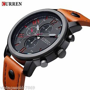2016 New Fashion Curren Branded  Leather Strap Wrist Watch In Box Pack