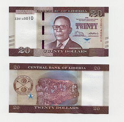 "2016 issue Rare:Liberia L$ 20 Replacement /""ZZ/"" series banknote"