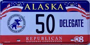 GENUINE-2008-Alaska-Republican-Delegate-License-Licence-Number-Plate-Tag-50
