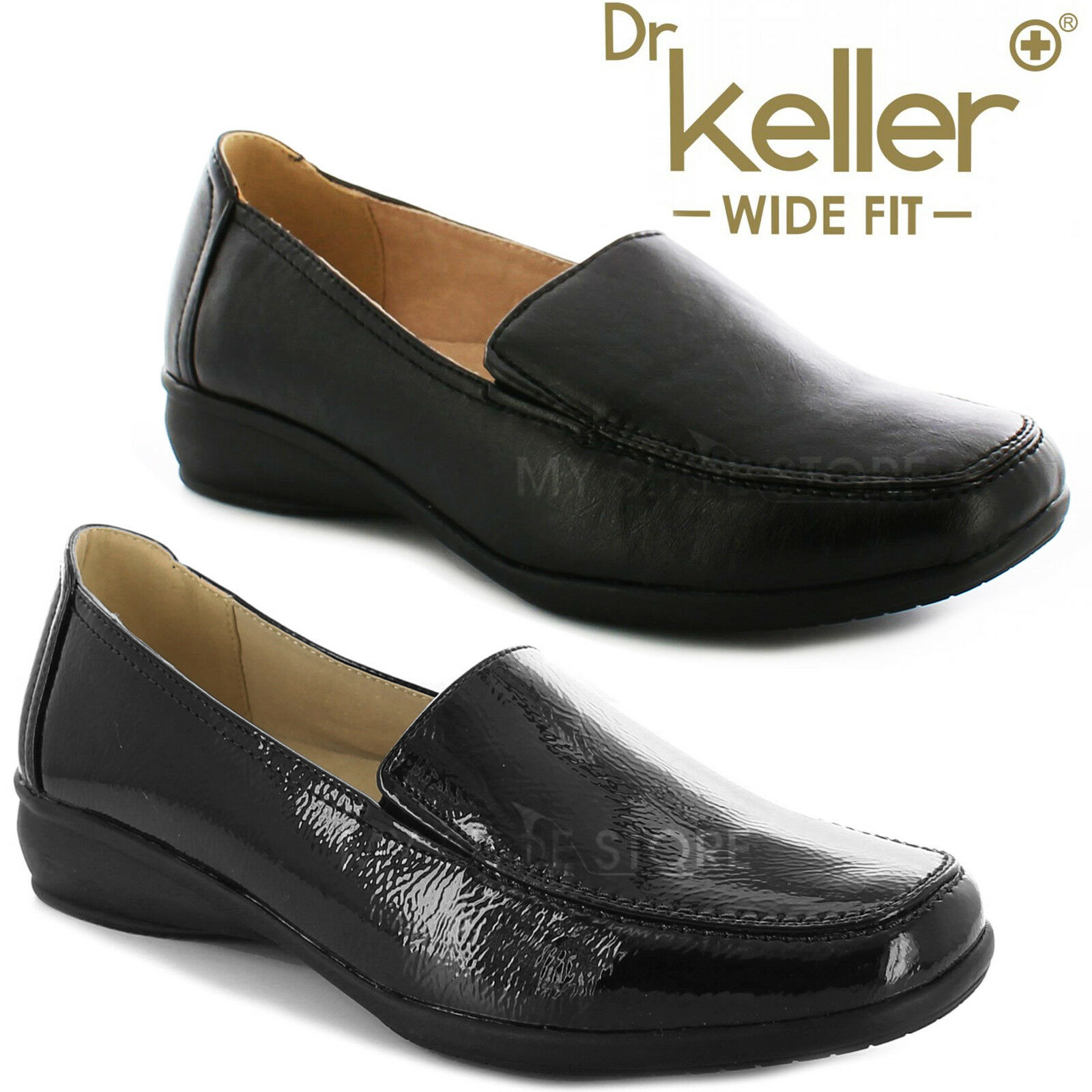 DR KELLER WOMENS WIDE FIT SHOES LADIES MOCCASIN LOAFER FLAT WEDGE COMFORT CASUAL LOAFER MOCCASIN 214852