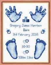 "Blue Baby Boy Birth Sampler, Hands & Feet Cross Stitch Kit 6""x8"" 16 Count"