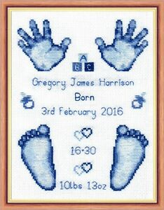 Image is loading Blue-Baby-Boy-Birth-Sampler-Hands-amp-Feet-