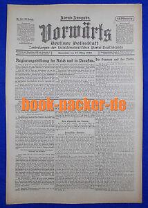 En Avant (27. Mars 1920): Formation Du Gouvernement De L'empire Et En Prusse-ung Im Reich Und In Preußen Fr-fr Afficher Le Titre D'origine