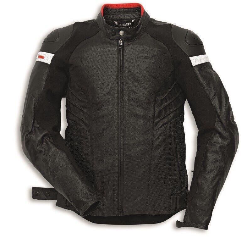 Ducati Dainese Sombre Armure Veste Blouson en Cuir Veste en Cuir black Perf. Neuf