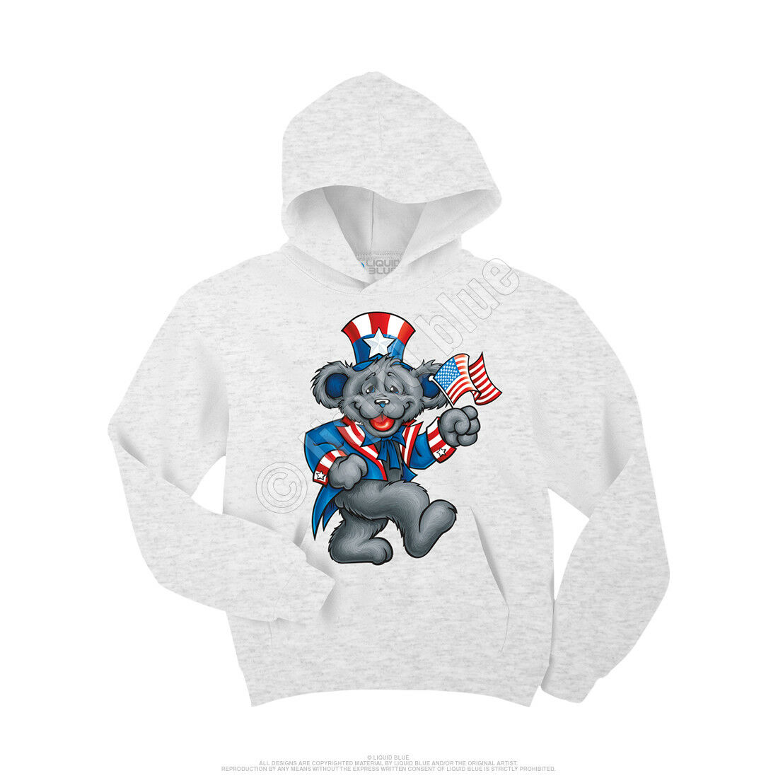 GRATEFUL DEAD-USA BEAR-FLAG-HEATHER-PULLOVER HOODIE-SWEATSHIRT Lg Garcia NEW