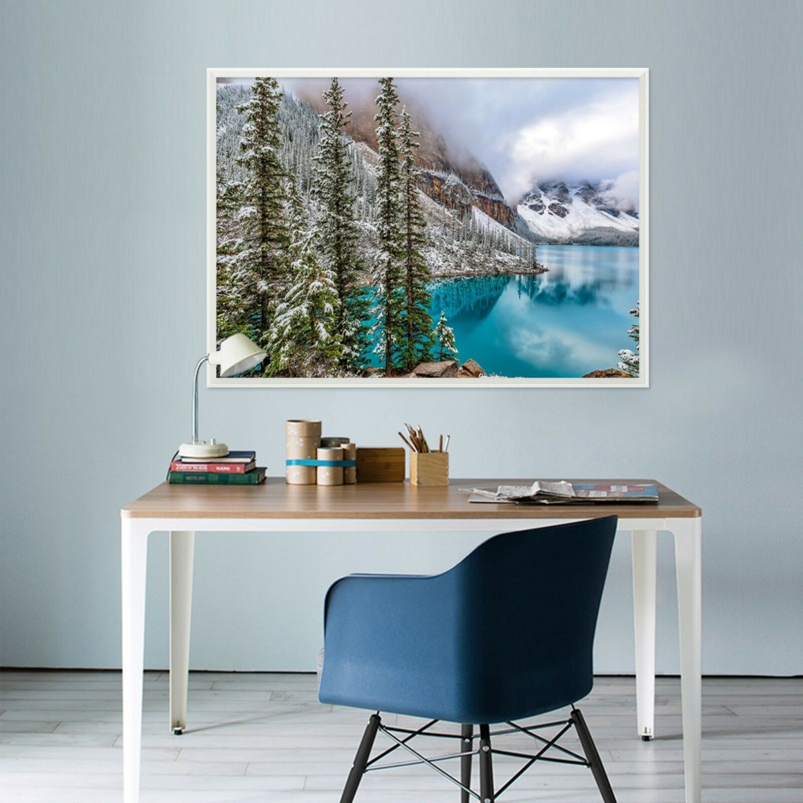 3D Snow Tree Hills Lake 2 Framed Poster Home Decor Print Painting Art WALLPAPER