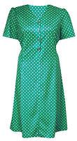 1940s 1950 VINTAGE GREEN POLKADOT TIE BACK POCKET PLUS SIZE TEA DRESS SIZE 12-26