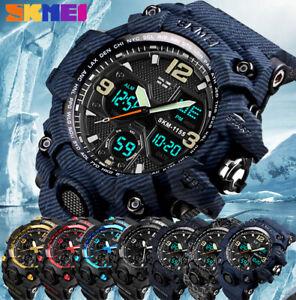 SKMEI-Army-Military-Waterproof-Sport-Men-039-s-LED-Quartz-Analog-Digital-Wrist-Watch