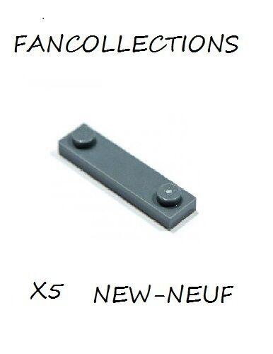 LEGO x 5 Modified 1x4 with 2 Studs Dark Bluish Gray Plate 92593  NEUF