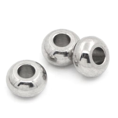 50pcs Bright Silver Tone Stainless Steel Round Beads Jewelry Findings 5mm