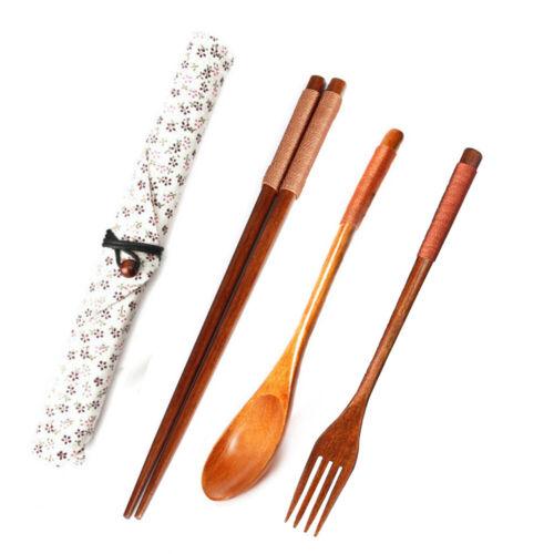 Wooden Cutlery Set Vintage Tableware Dinnerware Flatware with Pouch Kit OK