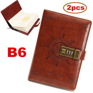 2 x B6 Brown Rudder PU Leather Vintage Password Lock Notebook Diary Journal Gift