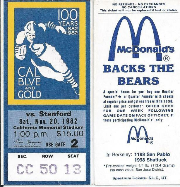 """Ultra-RARE, Vintage/Near Mint Cal-Stanford 1982 Big Game """"The Play"""" Ticket Stub!"""